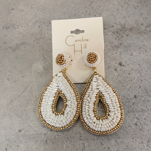 KEYS BEADED EARRING IN WHITE - Penny Lane Boutique