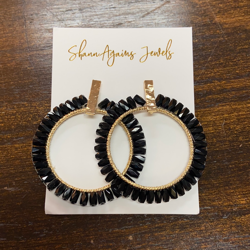BLACK BEADED HOOPS - Penny Lane Boutique