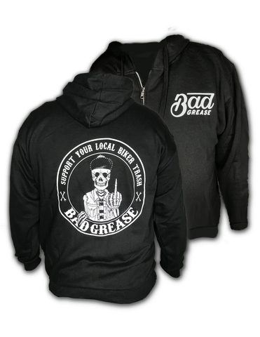 BG Support zipper hoodie - BLACK | Bad Grease Inc