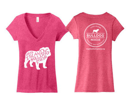 Ladies Junior Deep V-Neck Bulldog Front Tee Shirt