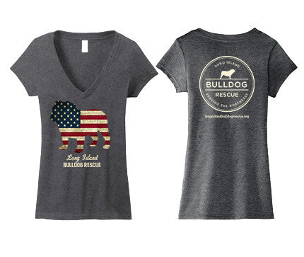 Ladies Junior Deep V-Neck Tee Shirt - Flag Dog