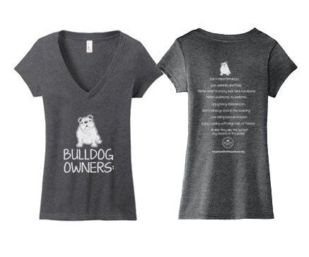 Ladies Junior Deep V-Neck Bulldog Owners Tee Shirt 2