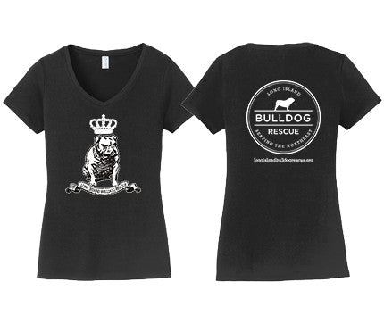 Ladies V-Neck Tee Shirt Bulldog Crown