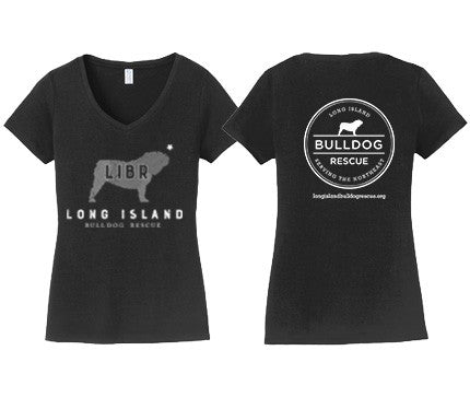 Ladies V-Neck Tee Shirt  LIBR Bulldog