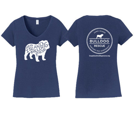 Ladies V-Neck Tee Shirt Bulldog Front