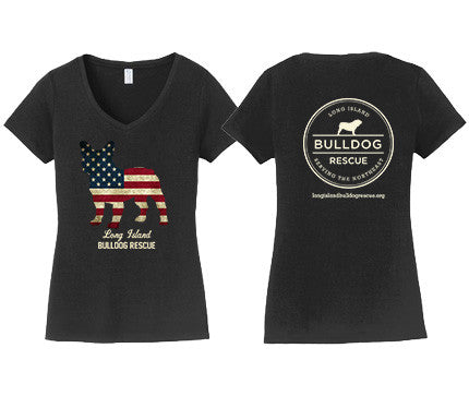 Ladies V-Neck Tee Shirt Flag Dog