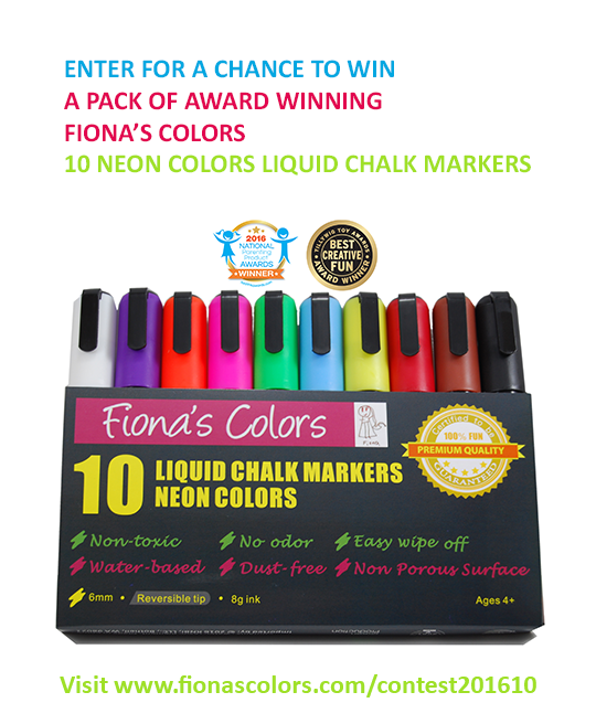 2016 October Contest: Twenty Packs of 10-Liquid Chalk Markers Giveaway in 20 days