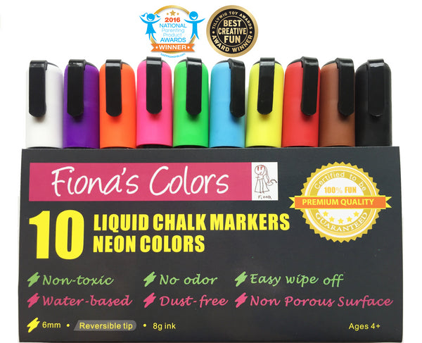 A National Parenting Product Award Winner: Fiona's Colors Wet Erase Liquid Chalk Markers, 10 Assorted Neon Colors