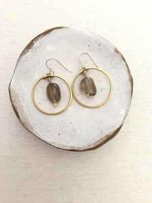 Crystal Core Jewelry-Brass Circle Earrings with Smokey Quartz