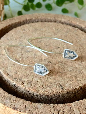 Sarah DeAngelo Jewelry-Stamped Royal Shield Silver Earrings