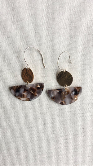 Brown Mother of Pearl Tortoise Half-Moon Dangles