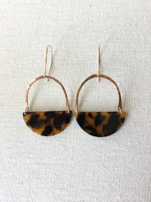 Half Moon Gold Tortoiseshell Earrings