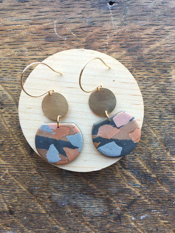 Hazel Clay Dangles in Rose Gold Terrazzo - Charcoal