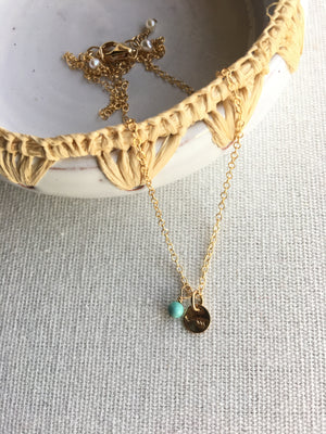 Sarah DeAngelo-Itty Bitty Gold Arrow and Turquoise Necklace