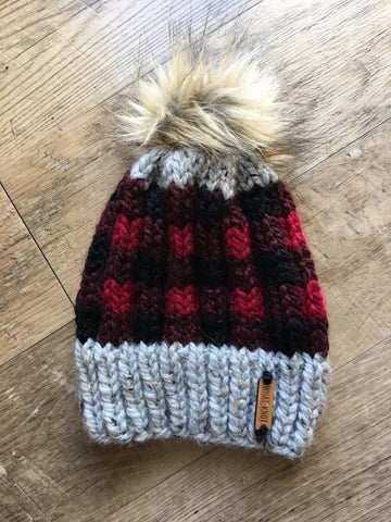 Red Plaid Hat with Faux Fur Pom
