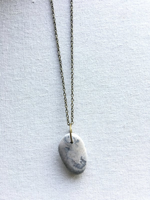 Great Lakes Jewelry Designs-Light Grey Stone Fossil Necklace