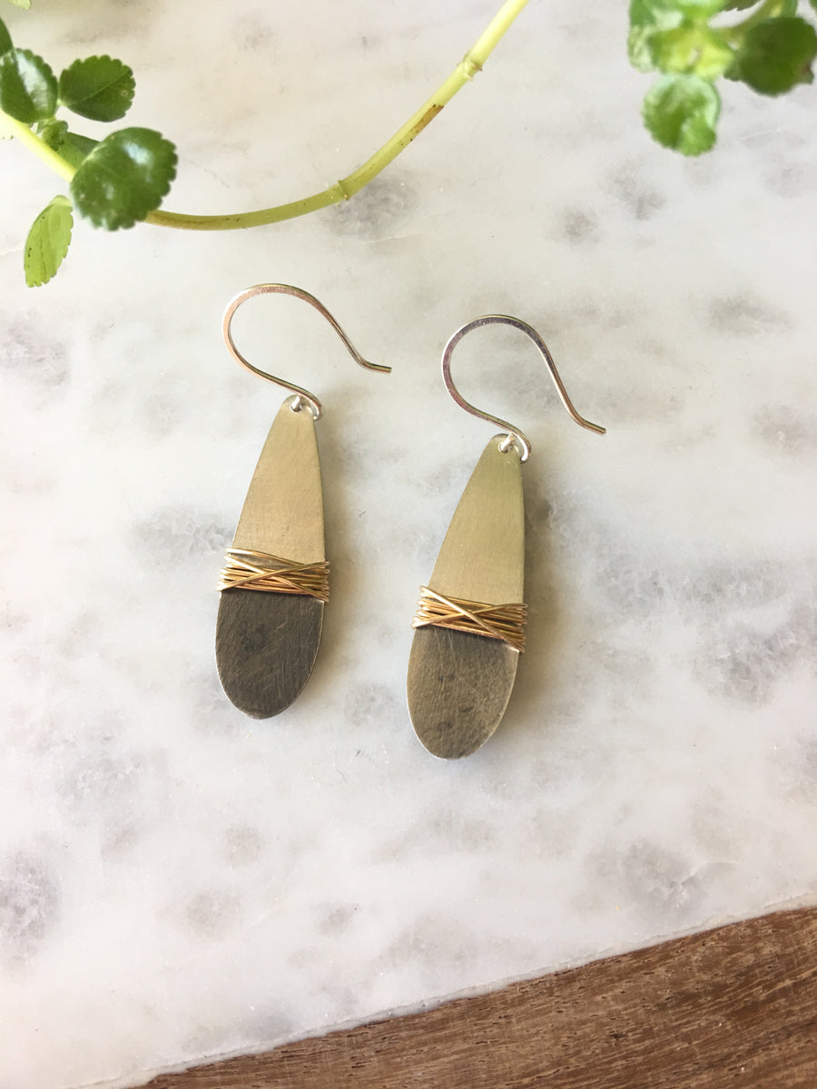 Sarah DeAngelo Jewelry-Dipped silver teardrop/gold wire wrap earrings
