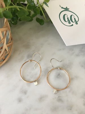 Sarah DeAngelo Jewelry-Gold Circle and Silver Dot Hoop Earrings