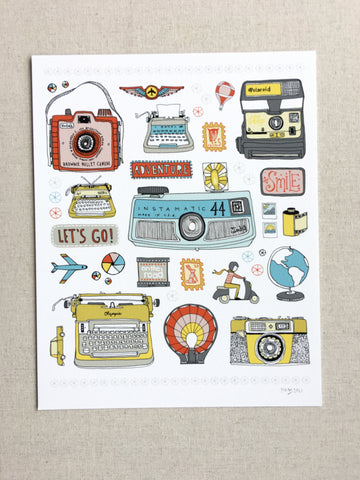 Adventure Travel Typewriter Camera Print - 8x10 -