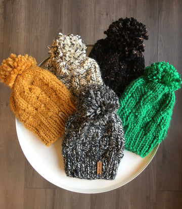 Basket Weave Pattern Hat with Yarn Pom - Various Colors