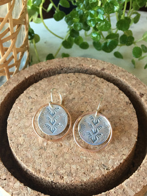 Sarah DeAngelo Jewelry-Southwest Stamped Silver and Rose Gold Ring Earrings