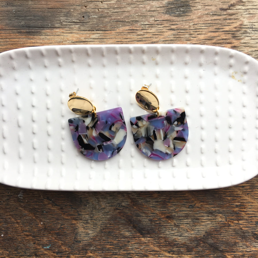 Purple Confetti Acrylic Tab Earrings