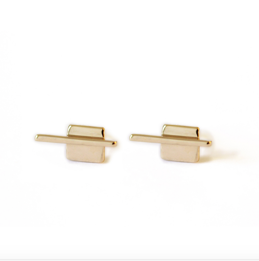 Linear Square Studs - Bronze
