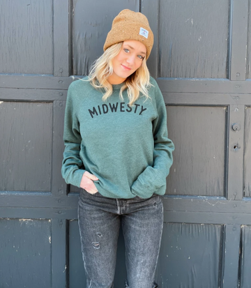 Midwesty Crew Neck Sweatshirt in Heather Forest