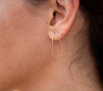 Triangle Threader Earrings - Sterling Silver or 14k Gold Fill