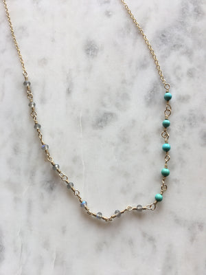 Sarah DeAngelo-Labradorite and Turquoise Gold Wrapped Necklace