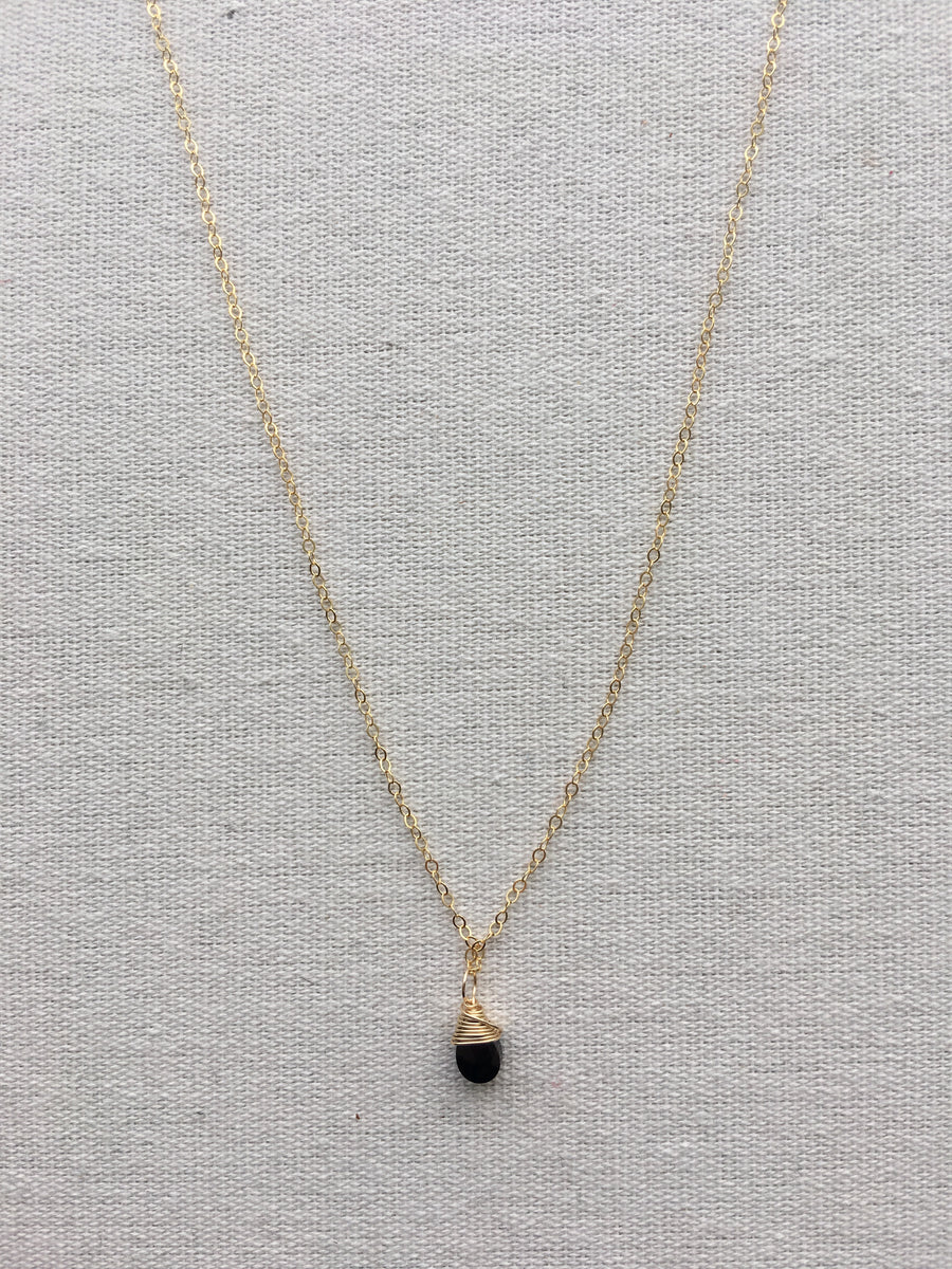 Hello Adorn-Almond Briolette Necklace with Black Garnet-14kt Gold Fill