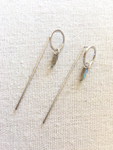 Hygge Jewelry Lab-Small Grey Rainbow Circle Dagger Earrings-Silver