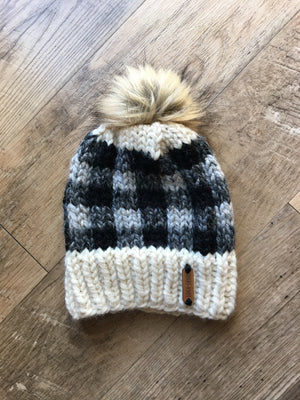 Grey Plaid Hat with Faux Fur Pom