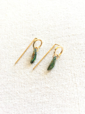 Hygge Jewelry Lab-Drop Post Circle Earrings with Green Bead