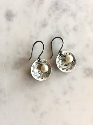 Sarah DeAngelo-Stamped Disc and Pearl Oxidized Silver Earrings