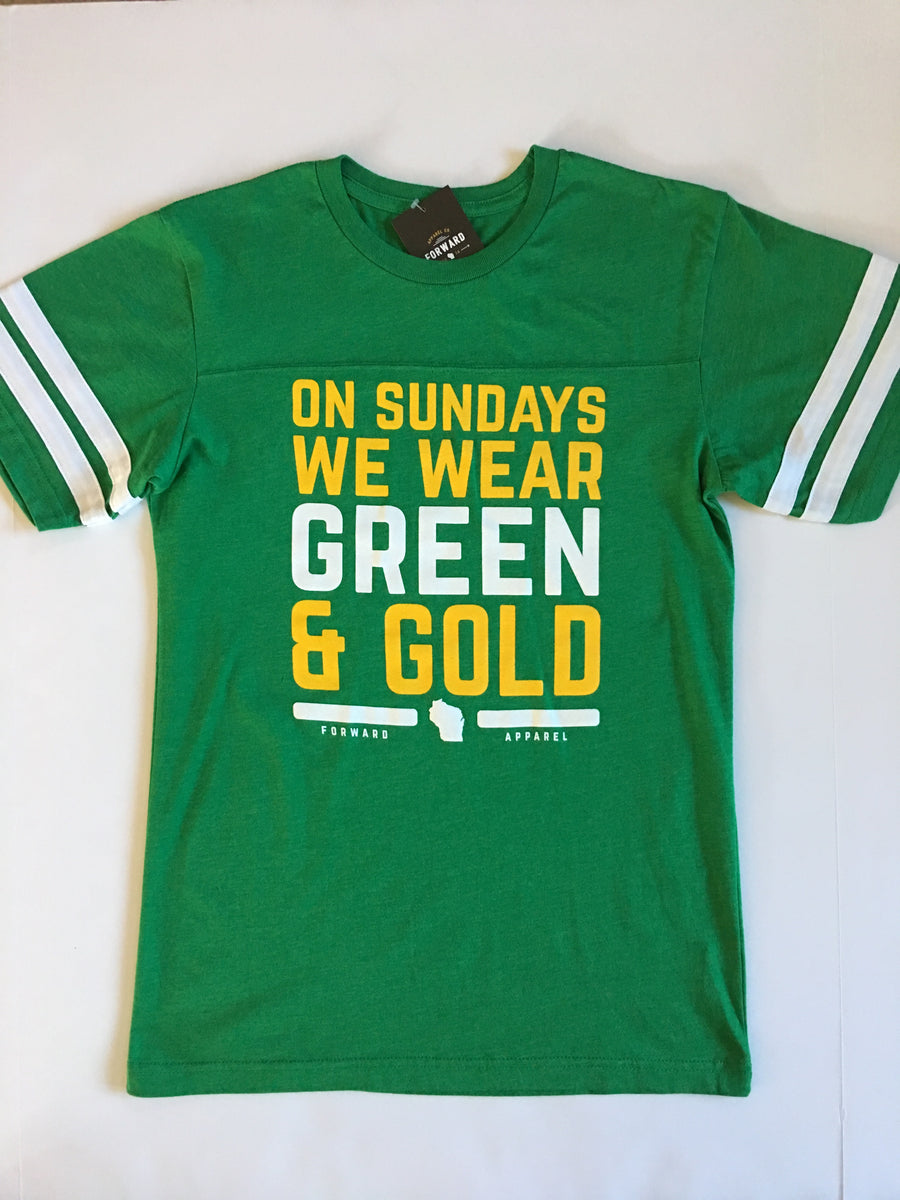Forward Apparel-On Sundays We Wear Green and Gold Jersey Tee