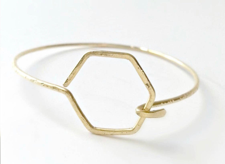 Thin Circle and Hexagon Latch Bracelet