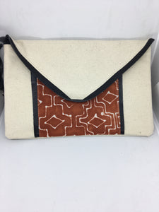 Elizann Textiles-Chrissy Clutch-Rust Diamond Plus