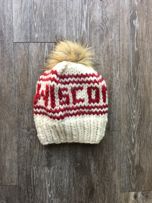 Knitted What-Knot White Wisconsin Hat with Faux Fur Pom