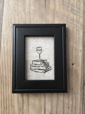 Stitch M-Wine and Books Stitched Art