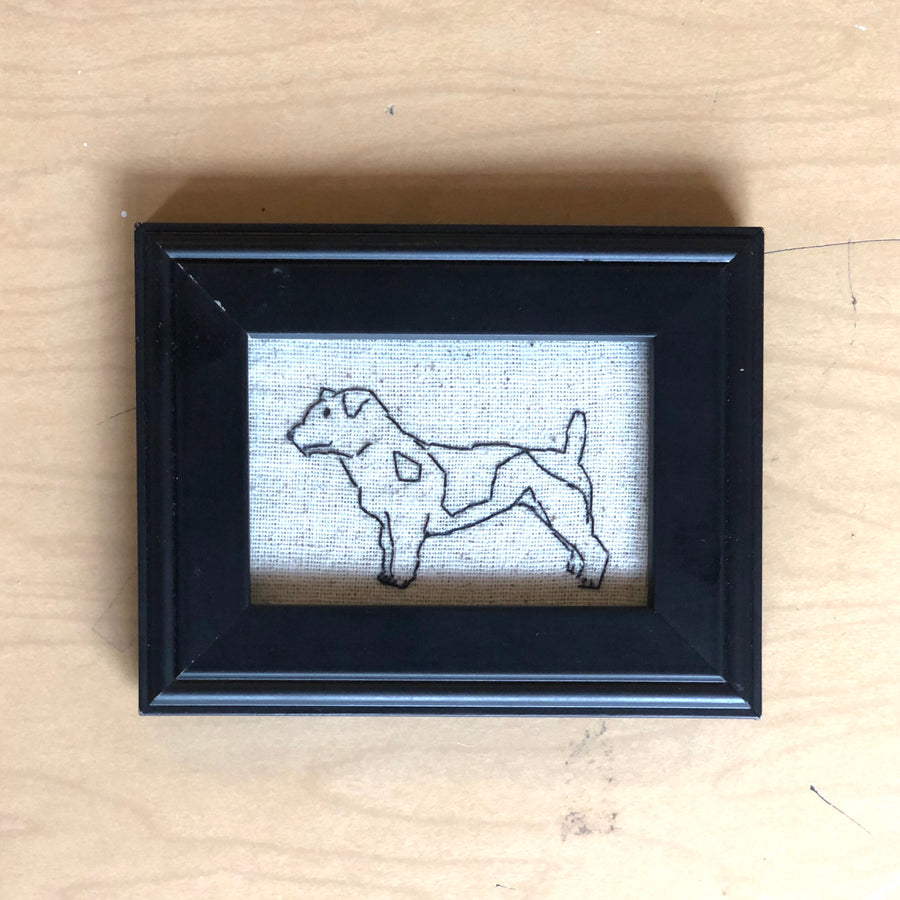 Jack Russell Stitched Art