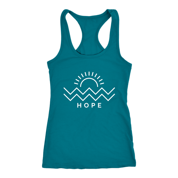 Hope Is Coming Womens Racerback White