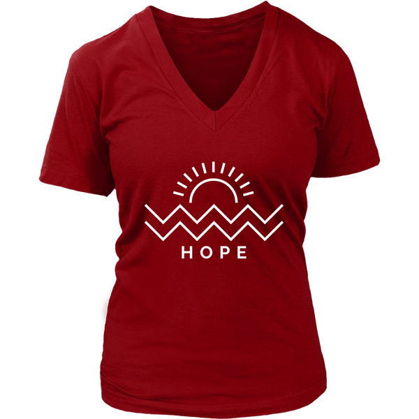 Hope Is Coming Womens V-Neck White