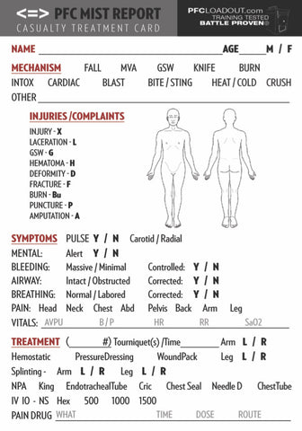 PFC MIST Report Casualty Treatment Card