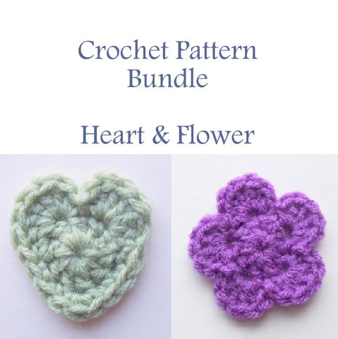 Heart and Flower Crochet Pattern Bundle PDF