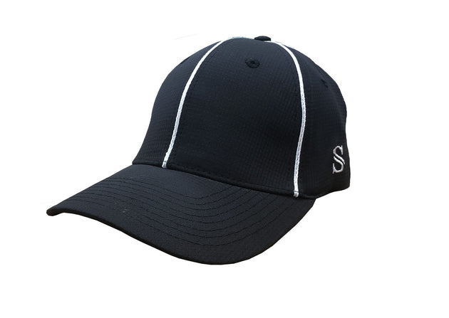 NEW-Smitty Performance Flex Fit Hat - Black with White Piping