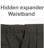 PLATE-CHARCOAL GREY PLEATED PANTS W/EXPANDER WAISTBAND