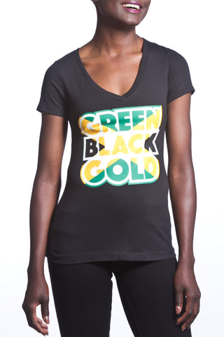 Green Black Gold Women's T-Shirt