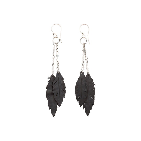 Paguro Angel Feather Recycled Rubber Earrings - Be good. Shop.