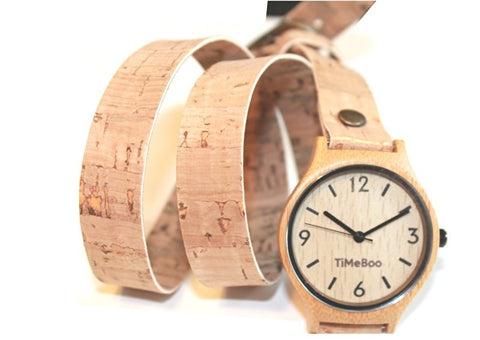 bamboo watch cork triple strap